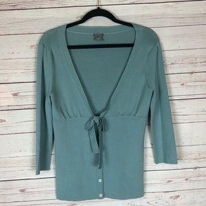 Ann Taylor Blue Cardigan Bow Tie Waist Size S